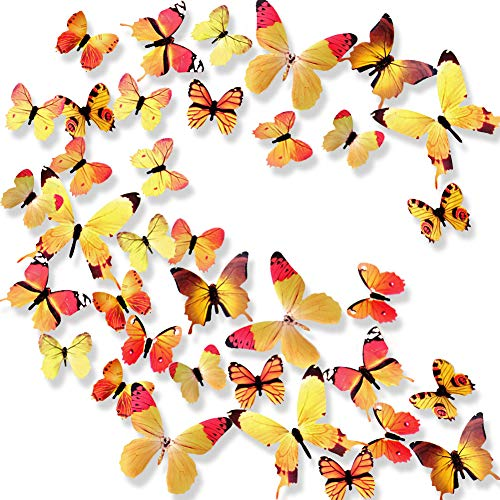 (Ewong Butterfly Wall Decals, 36PCS 3D Butterflies Home Decor for Room, Wall Sticker for Girls Room Kids Bedroom Bathroom Baby Nursery Decoration (Yellow))