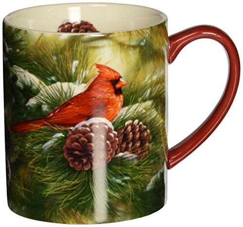 - LANG - 14 oz. Ceramic Coffee Mug - Exclusive Art - Oversized Cups - Heat-Insulated - Microwave - Dishwasher Save (December Dawn Cardinal)