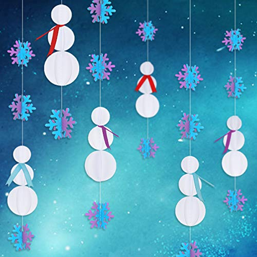 PinkBlume 3D Hanging Snowflake Decorations,Blue and Purple Snowflake Garland,White Paper Snowman Garlands Banner for Christmas Decorations,Frozen Party, Year,Xmas,Holiday,Baby Shower (4 Set) ()