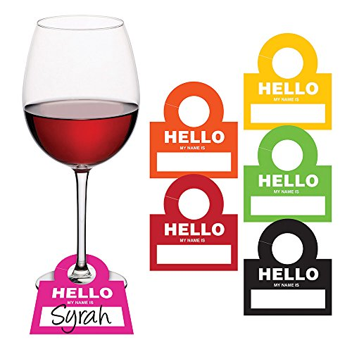 (Creative Converting 325094 Hello Is Wine Glass Name Tags,)