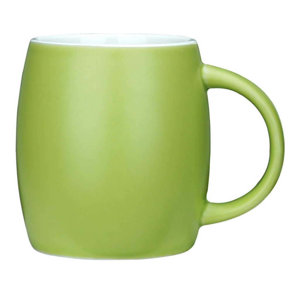 15 Ounce Ceramic Coffee Mugs Simple Pure Large milk Mug Porcelain Cup for Restaurant Office Home, Green, 1 Pack