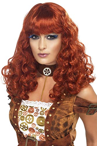 Smiffys Women's Long and Curly Auburn Wig with Bangs, One Size, Steampunk Wig, 5020570357552 -
