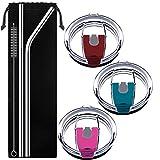 Tapas para vasos de 887 ml, se adapta a Yeti Rambler, Ozark Trail, Rtic (estilo antiguo solamente), DanziX, 3 unidades, tapas resistentes a salpicaduras con 2 pajitas de acero inoxidable, color rojo rosa, rojo oscuro, azul