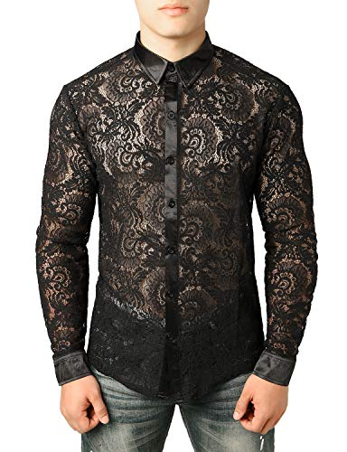 JOGAL Men's See Through Flower Lace Sheer Blouse Long Sleeve Button Down Shirts