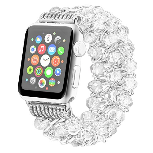 Tomazon Apple Watch Band 42mm, Fashion Handmade Elastic Stretch Crystal Beaded Bracelet Metal Chain Women Girls Strap Wristband for Apple Watch Series 3/2/1 - White
