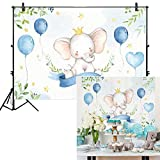 Allenjoy 7x5ft Watercolor Elephant Backdrop for Birthday Party Supplies Dessert Table Decoration It's a Boy Newborn Blue Prince Baby Shower Kids Banner Photography Background Photo Studio Booth Props