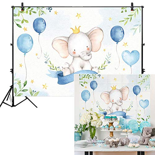 Babies Wallpaper - Allenjoy 7x5ft Watercolor Elephant Backdrop for Birthday Party Supplies Dessert Table Decoration It's a Boy Newborn Blue Prince Baby Shower Kids Banner Photography Background Photo Studio Booth Props
