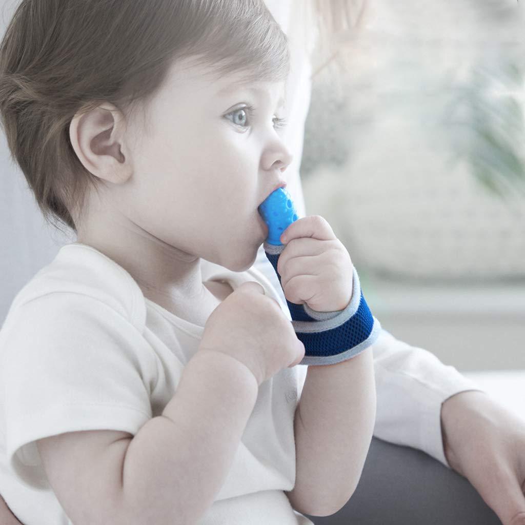 Baby Kind Fingerschutz stoppt Daumen Saugen Handgelenk Band Baby Stillen F/äustlinge Bei/ßring Schnuller Geborene Zahnpflege Lyguy Baby Bei/ßring blau
