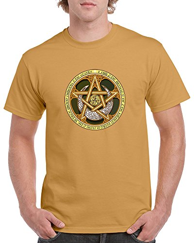 The Good Striker Men's and Women's T-Shirt With Celtic Knots, Pentagram, and Samhain Triple Spiral. (4Xlarge, Old -