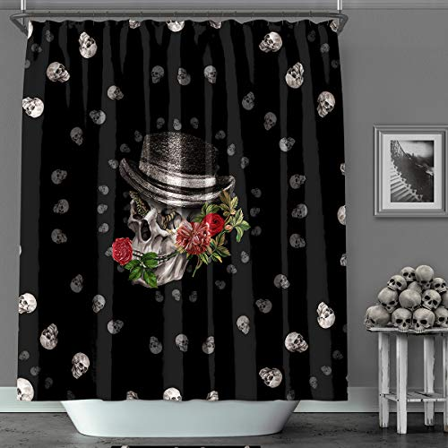 MACOFE Shower Curtain 3D Shower Curtain Halloween Christmas Decorations Polyester Fabric, Waterproof,Hooks Included, Original Design Hand Drawing,71x71in -