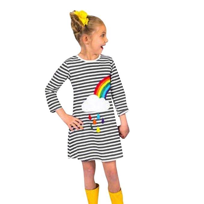 b919ec5ff911 Amazon.com  KONFA Teen Baby Girls Rainbow Stripes Print Dress ...