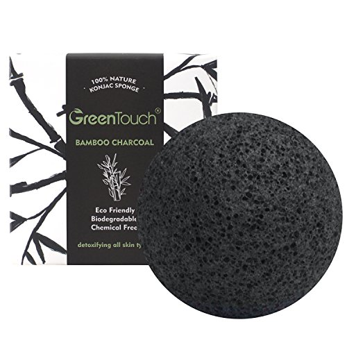 GreenTouch All Natural Konjac Facial Sponge with Activated Bamboo Charcoal   Remove the Oil & Exfoliation   Half-ball Shape Deep Cleansing   Plant Fiber 100% Biodegradable   Black, Christmas - Shape Is Facial My What