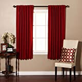 """Best Home Fashion Thermal Insulated Blackout Curtains - Back Tab/ Rod Pocket - Cardinal Red - 52""""W x 63""""L - Tie backs included (Set of 2 Panels)"""