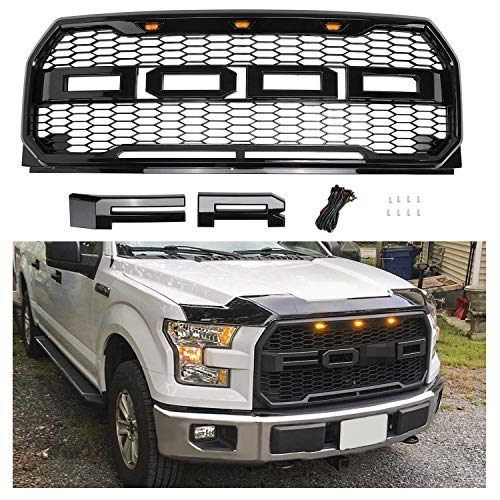 (Seven Sparta Front Grill for Ford F150 2015 2016 2017, Including XL, XLT, LARIAT, Raptor, King Ranch, Platinum and Limited, Raptor Style Grill with Amber Lights and F&R Letters, Gloss Black)