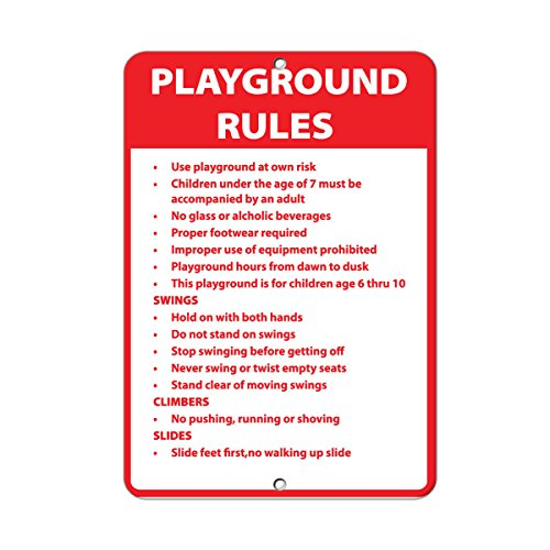 Playground Rules Use Playground At Own Risk Activity Sign Aluminum METAL Sign 18 in x 24 in