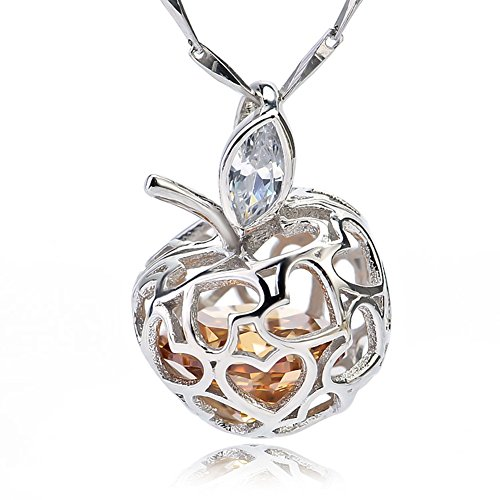 925 Sterling Silver Apple of Love Heart Hollow Vintage Filigree Pendant Necklace for women or girl
