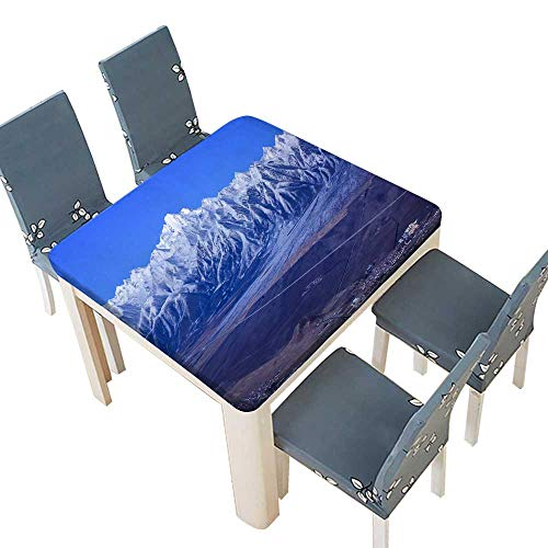 100% Polyester Luxury Tablecloth The Grand Magnificent Mountain Table Cover 33.5 x 33.5 INCH (Elastic Edge)