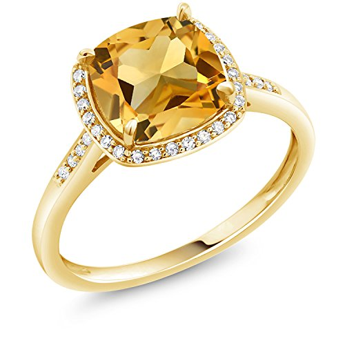 (Gem Stone King Yellow Citrine 10K Yellow Gold Women's Engagement Ring (3.00 Ct Cushion Cut Gemstone Birthstone Available in size 5, 6, 7, 8, 9) )