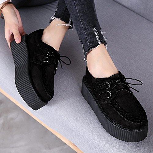 Lacets Cuir Gothique Chaussures Femmes Punk Creeper Oxfords Noir Plateaforme RoseG FfwEHg