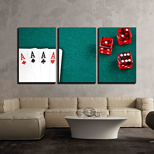 wall26 - 3 Piece Canvas Wall Art - Poker Card and Dice in Corner in of a Green Fabric Background - Modern Home Decor Stretched and Framed Ready to Hang - Art Fabric Framed