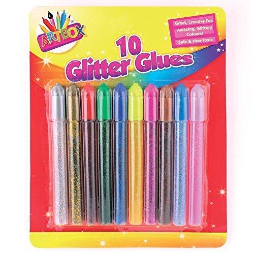 Glitter glue Pens, Lot de 10, couleurs assorties, pour créer des décorations Guilty Gadgets