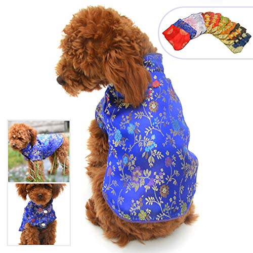 Lovelonglong 2019 Dog Costumes Cheongsam Qipao Dresses for Small Dogs Pet Tang Dynasty Costume for Toy Poodle Yorkshire Terrier M -