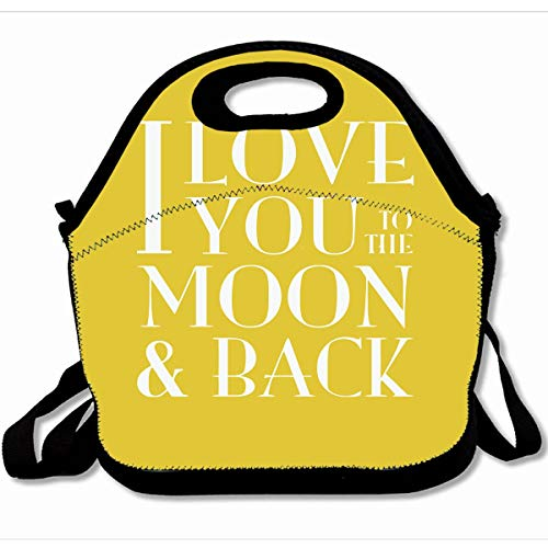 (Ahawoso Reusable Insulated Lunch Tote Bag Yellow I Love You To The Moon 10X11 Zippered Neoprene School Picnic Gourmet Lunchbox)