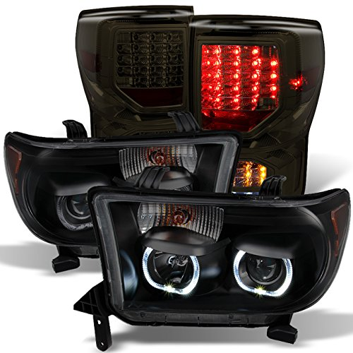 For GAZE Toyota Tundra Black Smoked SMD LED Projector Headlights Pair + Smoked LED Tail Lights Combo