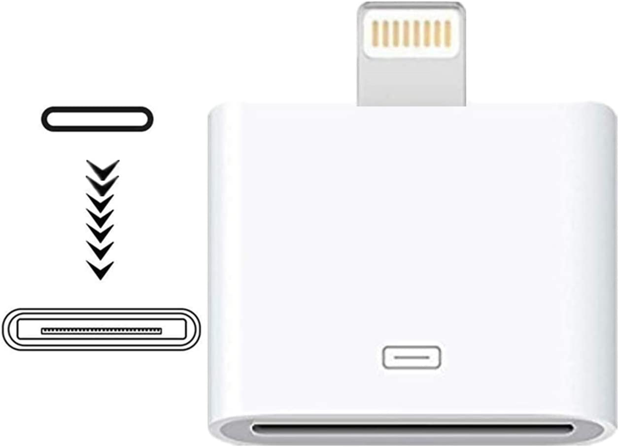 [MFi Certified] Lightning to 30-Pin Adapter,iPhone 8-Pin Male to 30-Pin Female Charging Sync Converter Connector Compatible Apple iPhone 12 11 X 8 7 6P 5S 4S 4 3 3G/iPad/iPod White Sharllen (No Audio)