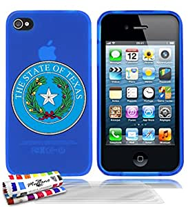 Carcasa flexible Ultrafina Azul Original de MUZZANO estampada Escudo Texas para APPLE IPHONE 4S + 3 películas de protección UltraClear para la pantalla