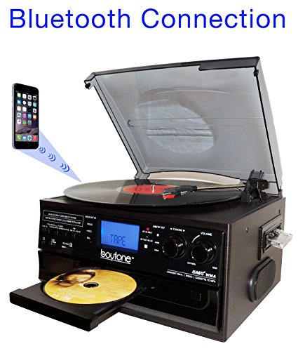 Boytone BT-22B, Bluetooth Record Player Turntable, AM/FM Radio, Cassette, CD Player, 2 built in speaker, Ability to convert Vinyl, Radio, Cassette, CD to MP3 without a computer, SD Slot, USB, AUX by Boytone