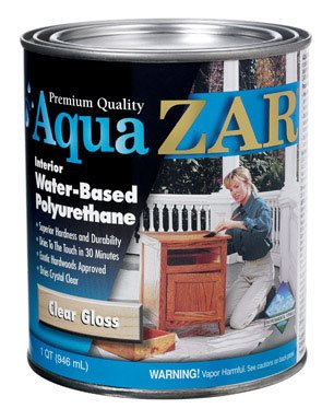 Aqua Zar Water-Based Polyurethane Finish Water Based Clear Gloss 1 Qt