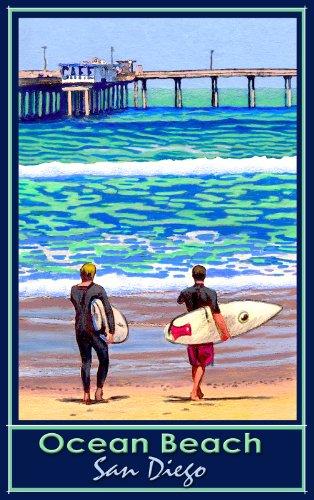 Northwest Art Mall San Diego California Ocean Beach Surfs Up by David Linton Wall Decor, 11-Inch by - In San California Diego Malls