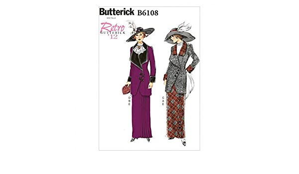 BUTTERICK 6108 VINTAGE RETRO 1912 TITANIC DOWNTON SUIT JACKET SKIRT PATTERN 6-14