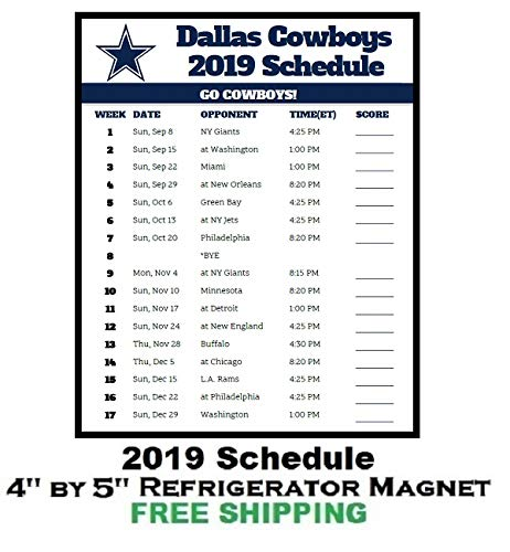 Cowboys Schedule 2019 Amazon.com: Dallas Cowboys NFL Football 2019 Schedule and Scores