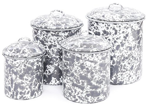 Chic Enamelware 4 Piece Canister Set - Grey Marble