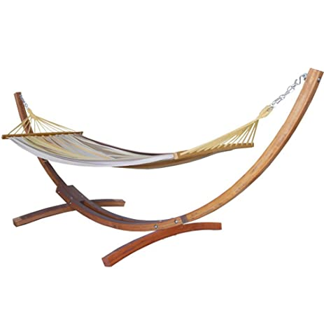 prime garden cotton hammock 12 foot wood arc backyard hammock stand amazon     prime garden cotton hammock 12 foot wood arc backyard      rh   amazon
