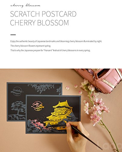 Lago Scratch Coloring Postcard Cherry Blossom / Set of 4 / 1 Scratch Stylus