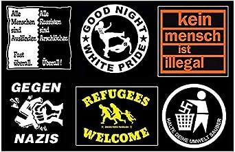 5 x Aufkleber /& 5 x Aufnäher Set Aufstehen gegen Rechts GEGEN NAZIS