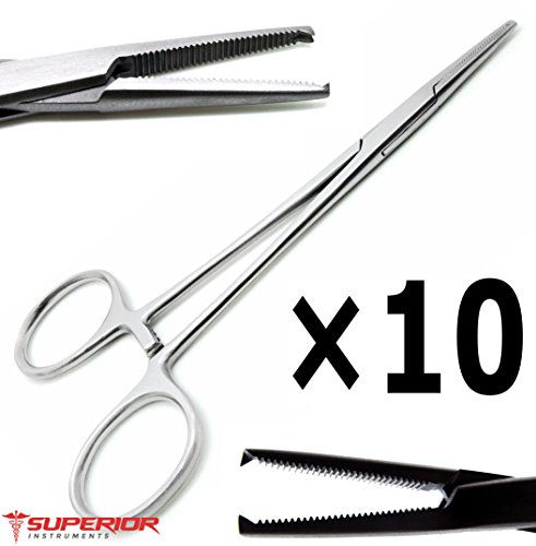 10 Pcs Medical Mosquito Straight Kocher Hemostat Forceps12.5cm Teeth 1x2 Surgical - Forceps Kocher