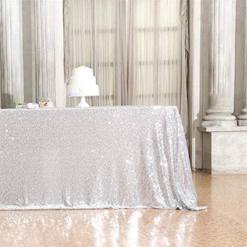 Eternal Beauty Rectangular Sequin Tablecloth Sparkly Sequin Overlay Sparkle Sequin Linens for Wedding Party Decoration (60 x 102-Inch, Silver)