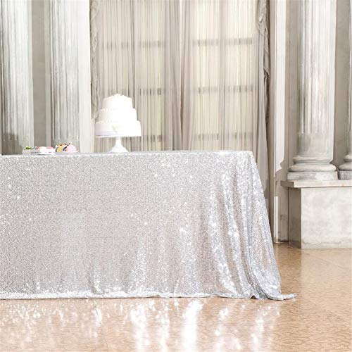 Eternal Beauty 60'' X 102'' Silver Sequin Tablecloth