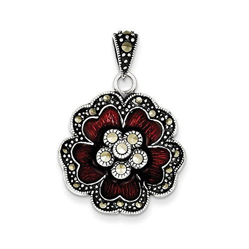 - 925 Sterling Silver Marcasite Red Enamel Flower Pendant Charm Necklace Gardening Fine Jewelry Gifts For Women For Her