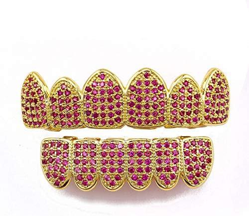SunxwenGB Hip-Hop-Zahnspange Gold überzogene rosa Rhinestone-Goldgrills eingestellt for Frauen