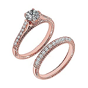 1.49 Carat G-H I2-I3 Diamond Engagement Wedding Anniversary Halo Bridal Ring Set 14K Rose Gold