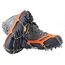 abcGoodefg® One Pair Shoe Chains Black Anti-Slip Ice Cleats Shoe Boot Grips Traction Crampon Chain Spike Sharp Snow Walking Walker