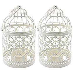 Ciaoed Small Metal Tealight Hanging Birdcage Lantern, Vintage Decorative Centerpieces of Wedding & Party Pack of 2(White)