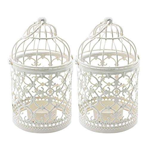 - Ciaoed Small Metal Tealight Hanging Birdcage Lantern, Vintage Decorative Centerpieces of Wedding & Party Pack of 2(White)
