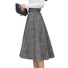 Tanpell Women's Woolen Plaid Pleated Waist Belted A Line Midi Skirt