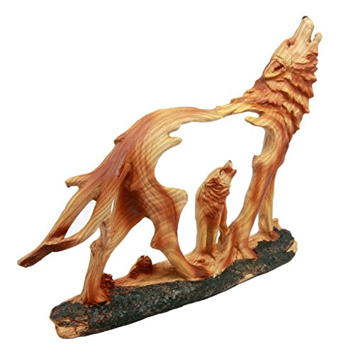 Atlantic Collectibles Wildlife Woodlands Scene Blood Moon Howling Gray Alpha Wolf Figurine In Faux Wood Finish by Atlantic (Image #2)